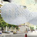 """Uno """"stormo d'uccelli"""" per fare ombra su piazza Portanova a Salerno"""