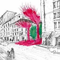 Milano, colore e strutture leggere per ridare vita a una piazza degradata. È il forte impatto visivo ad avere la meglio!