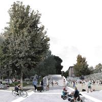 Casalecchio di Reno, una linea di pali bianchi rigenera lo spazio pubblico di piazza Garibaldi